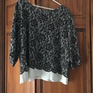 Black/white lace look shirt